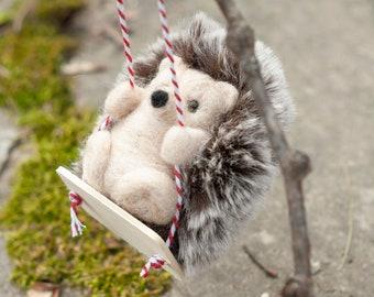 Needle Felted Hedgehog - Swinging