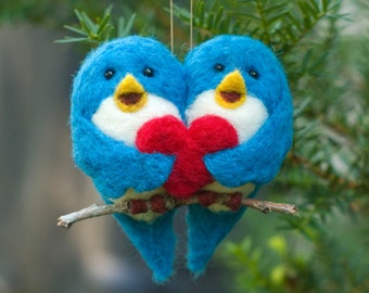 Needle Felted Bird Ornament - Love Birds