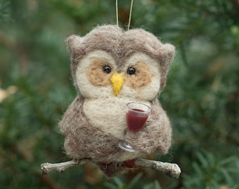 Needle Felted Owl Ornament - Thirsty for Wine