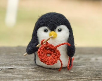 Needle Felted Penguin - Crocheting