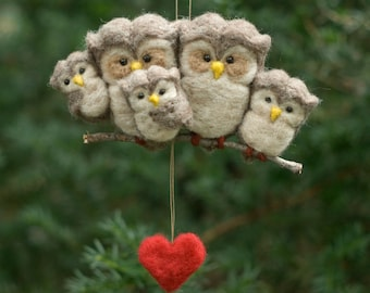 Needle Felted Owl Ornament - Family of Five