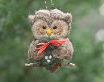 Needle Felted Owl Ornament - Holding Wreath