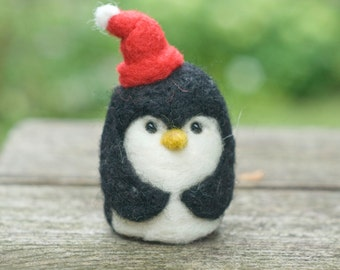 Needle Felted Penguin - Red Stocking Cap