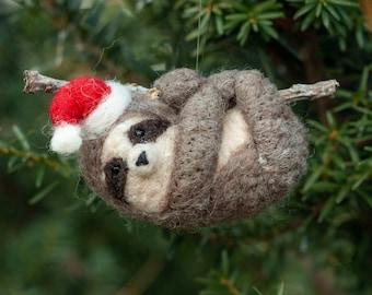 Santa Sloth Ornament - Needle Felted