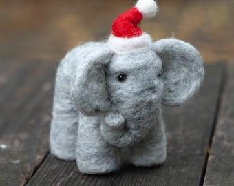 Needle Felted Elephant with Santa Hat
