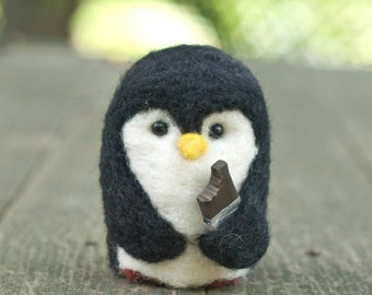 Needle Felted Penguin - Hungry for Chocolate