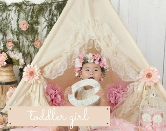 Toddler Teepee Tent for Kids with Lace and optional Pink Fluffy Rug