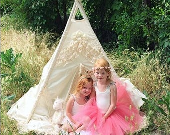 Kids Boho Teepee Tent with Mat or Without – Lace Teepee Tent for Girls for Boho Nursery Decor or Boho Girl Room Decor