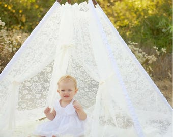 White Lace Teepee Tent - All Lace Teepee Tent for Girls or Baby Girl for Room, Nursery or Playroom
