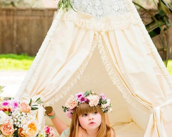 Lace Teepee Tent for Girls – Indoor Teepee Tent Lace and Fringe Accents for Vintage Nursery Decor