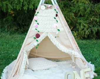 Teepee Tent for Girls - Beautiful Boho Teepee Tent for Girls Perfect for a Woodland Nursery