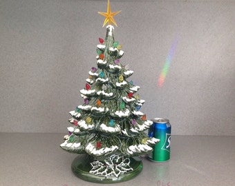 """Ceramic Christmas Tree with snow Traditional Old Fashioned Large lighted  ... 18"""" Tall #18GgMmtLED"""