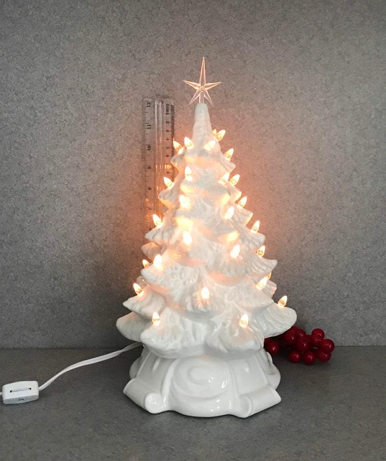 White Glazed Ceramic Christmas Tree Lighted Scrollwwsct