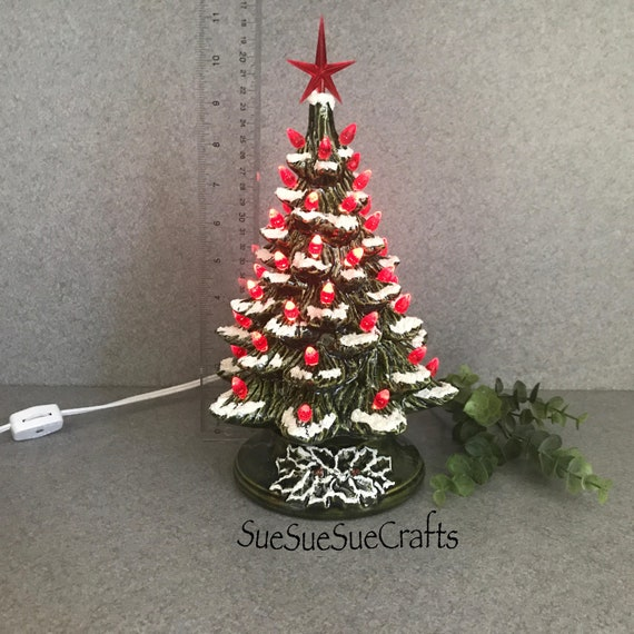 Ceramic Christmas Tree With Snow.Traditional Green And Red Ceramic Christmas Tree With Snow 11 Inches Tall Ready To Ship 11gg Rt Snow