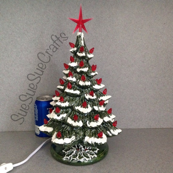 Traditional Green And Red Ceramic Christmas Tree With Snow Etsy