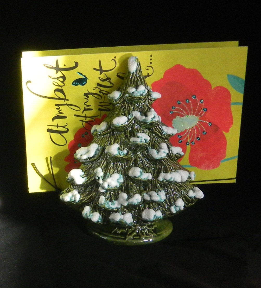 Ceramic Tree Card Holder Or Christmas Tree Napkin Holder