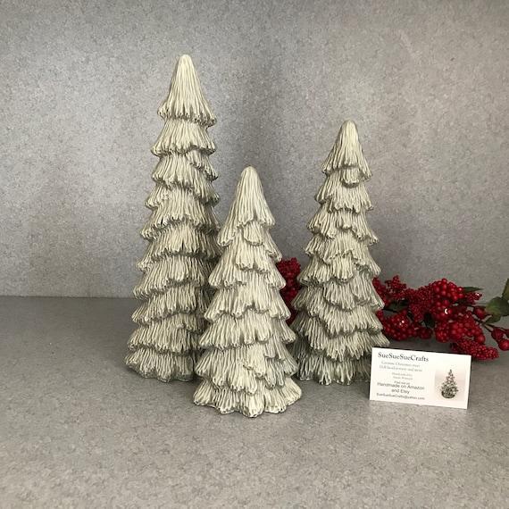 Skinny Christmas Tree.Ceramic Slim Christmas Tree 3 Trees Shelf Or Village Skinny Tree Holiday Decoration 12 06