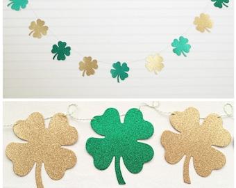 4 Leaf Clover Garland - Glitter 4.75 inch tall - St Patricks Day Shamrock Garland St Patrick's Day Party Banner St Patty Decor four leaf
