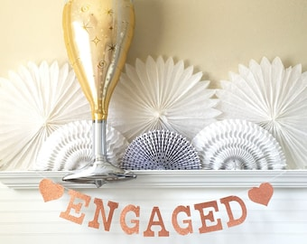 Engagement Party Decorations - Glitter 5 inch Letters - Engaged Banner Champagne Balloon Glitter Engagement Banner Announcement Photo Prop