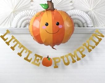 Glitter Little Pumpkin Baby Banner - 5 inch Letters - Lil Pumpkin Garland Fall Baby Shower Decorations First Birthday Pumpkin Halloween Sign