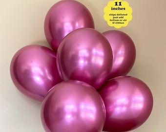 NEW Fuchsia Chrome Balloons - 6 pk 11 inch Latex - Bachelorette Party Metallic Pink Birthday Decorations Reflex Shiny Girl Baby Shower Decor