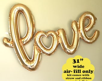 Gold Love Script Balloon - Air Fill Only - Love Balloon Wedding Decoration Photo Prop Bridal Shower Engagement Party Love Script Anniversary