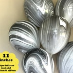 """Black and White Marble Balloons - 6 pack 11"""" Latex - Black and White Party Decor Black Balloons Agate Swirl Bachelorette Party Decorations"""
