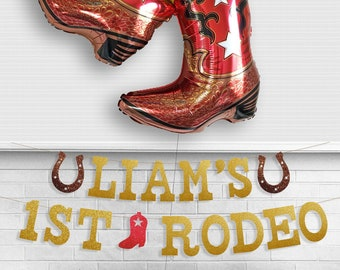 My First Rodeo Banner - Glitter 5 inch tall letter - Western 1st Birthday Sign Lil Cowboy Theme Boot Horseshoe Country Party Decor Farm Barn