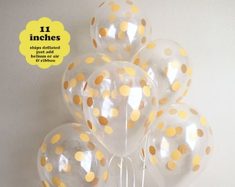 """Gold Polka Dot Balloons - 6 pack 11"""" Latex - Gold Confetti Balloons First Birthday Wedding Bridal Shower Gold Party Decorations Graduation"""