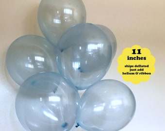 """Clear Blue Balloons - 6 pack 11"""" Latex - Winter Birthday Party Decorations Pastel Pale Sky Blue It's a Boy Boys Baby Shower Snowflake Theme"""