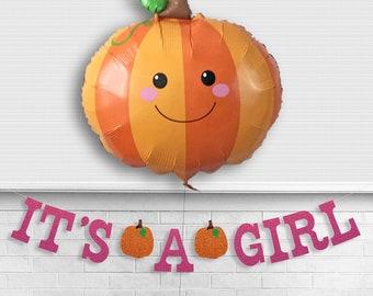 It's A Girl Pumpkin Glitter Banner - 5 inch Letters - Fall Baby Girl Shower Decorations Lil Pumpkin Balloon Pink Little Pumpkin Virtual Sign