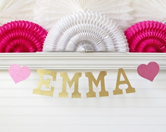 Custom Name Banner - Glitter 5 inch Letters - Personalized Banner Heart Baby Shower Decor Birthday Party Decoration Custom Glitter Name Sign