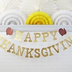 Happy Thanksgiving Banner - Glitter 5 inch Letters - Friendsgiving Decor Gold Mantle Sign Turkey Decorations Autumn Fall Party Garland