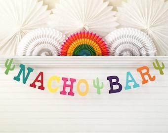 Nacho Bar Banner - 5 inch Letters - Fiesta Birthday Banner Cinco De Mayo Nacho Bar Sign Colorful Fiesta Party Decorations Nacho Party Decor