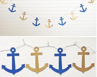 Glitter Anchor Garland - 5 inch Anchors - Nautical Decor Anchor Bridal Shower Banner Glitter Nautical Bachelorette Party Nautical Wedding