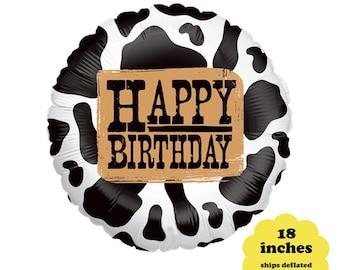"Western Birthday Balloon - 18"" Cowboy Party Decorations Cowgirl Birthday Balloon Western Party Decor Barnyard Birthday Cow Print Rodeo Farm"