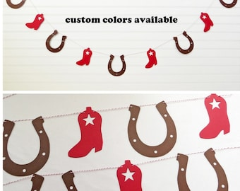 Western Garland - Cowboy Birthday Party Decor Red Cowboy Baby Shower Cowgirl Banner Horseshoe Boots Rodeo Themed Party Supplies Barnyard