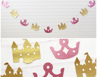 3db095c0b06 Princess Glitter Garland - Crown and Castle - Princess Party Garland  Princess Birthday Banner Glitter Party Garland Crown Banner Castle Sign