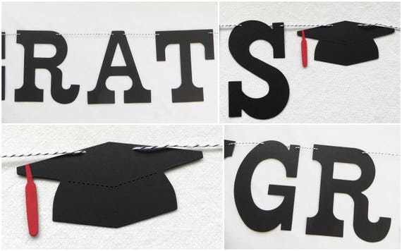 congrats grad banner with custom name 5 inch letters etsy