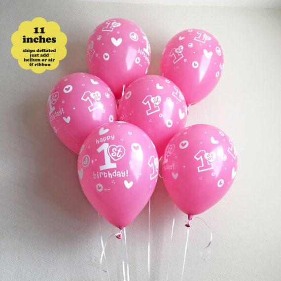 Pink 1st Birthday Balloons 6 Pk 11 Latex Girl