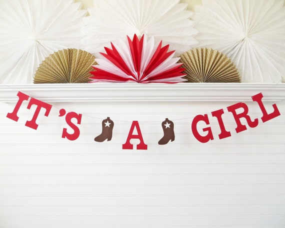 Cowgirl Baby Shower Banner 5 Inch Letters It S A Girl