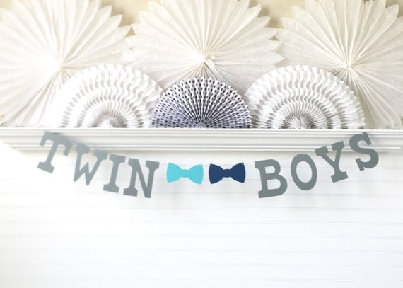 Twin Boys Banner 5 Inch Letters With Bow Ties Twin Baby Shower