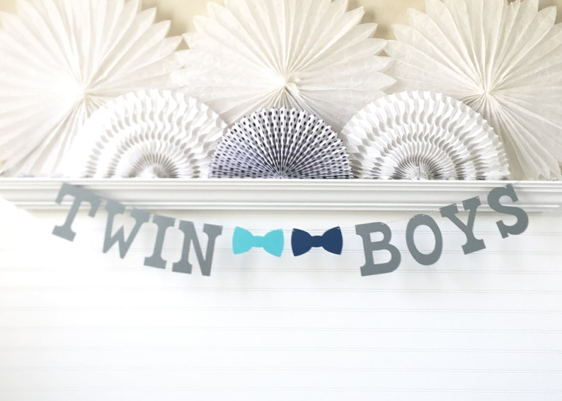 Twin Boys Banner 5 Inch Letters With Bow Ties Twin Baby Etsy