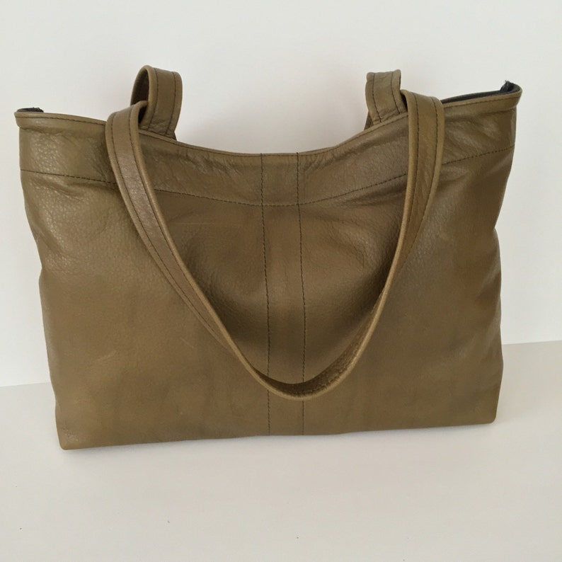 2dee264ab Distressed olive green leather tote bag Free Shipping | Etsy