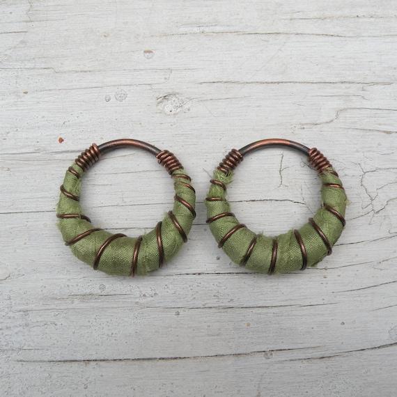 For Stretched Piercings Tunnel Threaders Dark Orange 8 Gauge Silk Hoops Fat Hoops Hanger Plugs