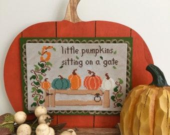 Physical Paper Pattern: Five Little Pumpkins Cross Stitch Pattern