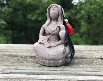 Goddess Morrigan Altar Figure (goddess sculpture, raven, ceremony, ritual)