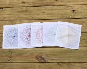 Blooming and Blessing Mandala Goddess Grid or Altar Cloth or Prayer Flag -  (crystal grid, wiccan, pagan, altar, shrine, divine, goddess)