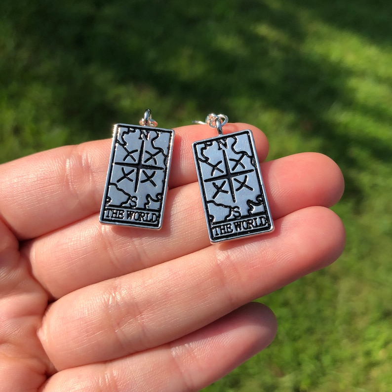 Tarot Card Earrings  The World: Silver-tone wiccan image 0