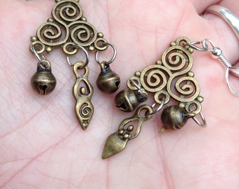 Triple Spiral Goddess Earrings